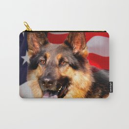 German shepherd Dog Patriot Red Blue White Carry-All Pouch