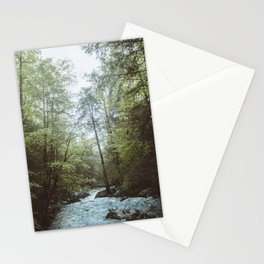 Peaceful Forest, Green Trees and Creek, Relaxing Water Sounds Stationery Cards
