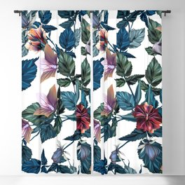 Beautiful vector hibiscus tropical pattern Blackout Curtain