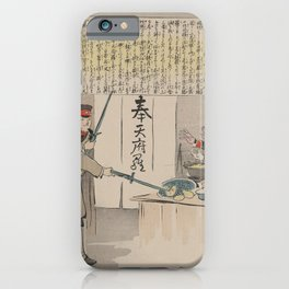 Japanese Art Print - Kiyochika - Japanese Soldiers Interrupting a Russian Officer's Meal (1904) iPhone Case