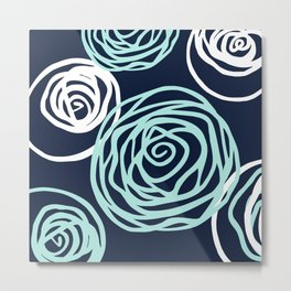 Floral Rose Modern Abstract Navy Aqua Metal Print