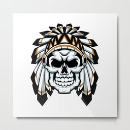 skull indian chief with feather hat Metal Print