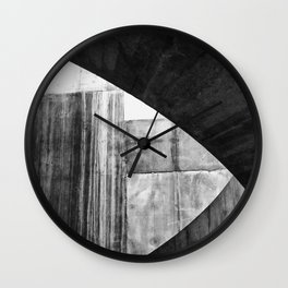 Stone Circle Meets Square Concrete Abstract Wall Clock