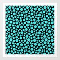 Turquoise polka dots on a black background. by fuzzyfox85