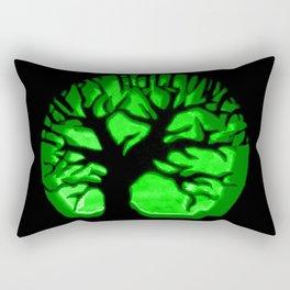Happy HaLLoween Brain Tree : Green & Black Rectangular Pillow