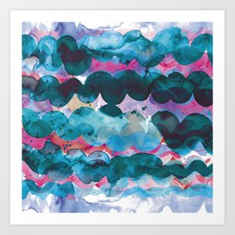 Abstract sea waves - Blue and pink Art Print
