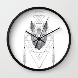 Geometric Wolf Dream Catcher Wall Clock