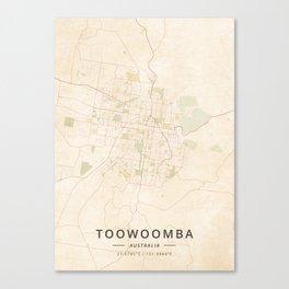 Toowoomba, Australia - Vintage Map Canvas Print