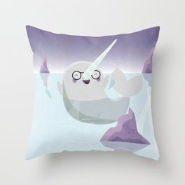 Norman the Near-Sighted Narwhal Throw Pillow