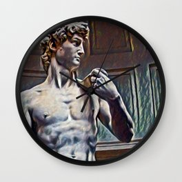David from Michelangelo Artistic Illustration Relief Style Wall Clock