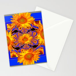 Golden Sunflowers Ornate Blue Patterns Stationery Cards