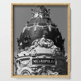 Madrid, Spain, Edificio Metrópolis Beaux-Arts Statue black and white photograph / art photography Serving Tray