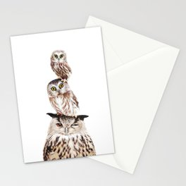 Stacked Owls Stationery Cards