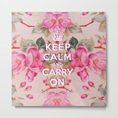 Pink Girly keep Calm and Carry on Vintage pink elegant floral roses Metal Print