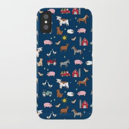 Farm animals nature sanctuary cow pig goats chickens kids gender neutral iPhone Case