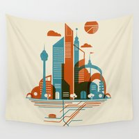 subway Wall Tapestries featuring From the Subway to the Sky by Jay Fleck