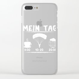 """A Nice Skydiving Tee For Skydivers """"Mein Tag 9:00 Coffee 10-20 Skydiving 20:00 Beer"""" T-shirt Design Clear iPhone Case"""