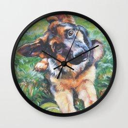 German Shepherd dog portrait painting by L.A.Shepard fine art alsatian Wall Clock