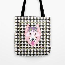 Harlequin Husky Tote Bag
