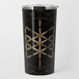Web of Wyrd in Flower of life Black and Gold Travel Mug