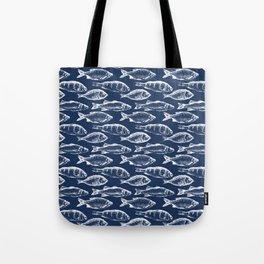 Fish // Navy Blue Tote Bag