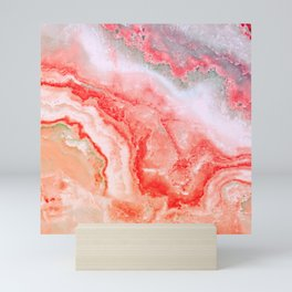 Luxury LIVING CORAL Agate Marble Geode Gem Mini Art Print