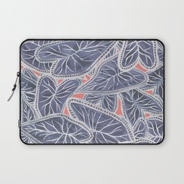 Tropical Caladium Leaves Pattern - Purple Gray Coral Laptop Sleeve