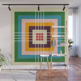 Retro Colored Abstract Shapes Wall Mural