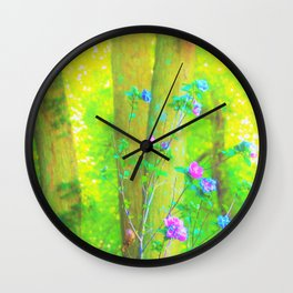 Hot Pink Abstract Rose of Sharon on Bright Yellow Wall Clock
