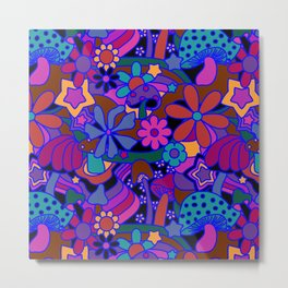 70's Psychedelic Garden in Cool Jeweltone Metal Print