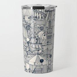 retro circus indigo ivory Travel Mug