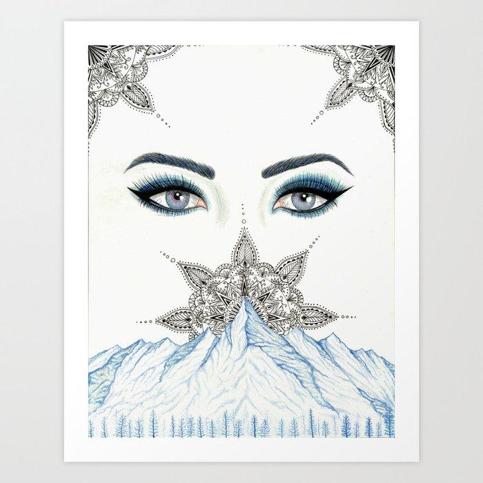Winter Eyes Mountain Range Mandala Art Print