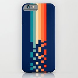Classic 70s Style Abstract Rainbow Retro Stripes Pixel Drops - Ayako iPhone Case