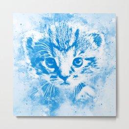 baby cat wswb Metal Print