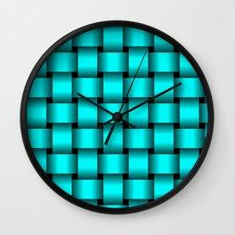 Large Cyan Weave Wall Clock
