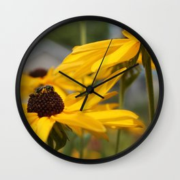 Bee on a Sunflower Wall Clock