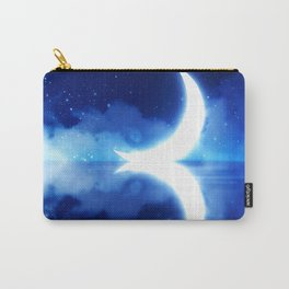 Crescent Moon over blue Starry Sky Carry-All Pouch