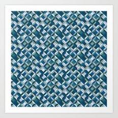 colorful geometric diamonds ocean colors Art Print