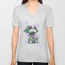Baby Dragon with Flowers Unisex V-Neck
