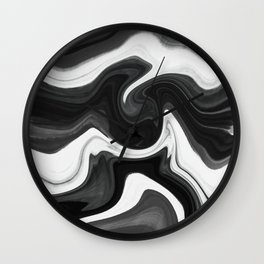 Liquid Marble black and white texture Wall Clock