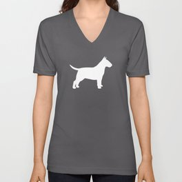 White Bull Terrier Silhouette Unisex V-Neck