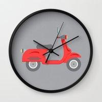 vespa Wall Clocks featuring Vespa by Chicokids