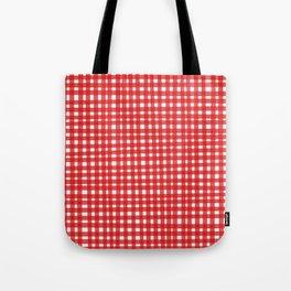 Red Gingham Tote Bag
