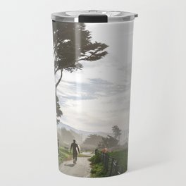Surfer Walking to the Beach Travel Mug