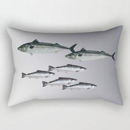 Tuna an Salmon Fish grey Rectangular Pillow