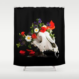 Animal skull with a wreath of wild flower Shower Curtain
