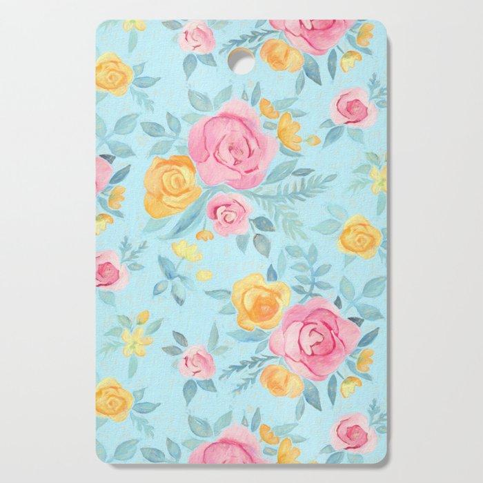 Chalk Pastel Pink & Orange Roses on Sky Blue Cutting Board