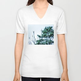 Six Finches in a Tree Unisex V-Neck