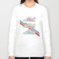 sneakers Long Sleeve T-shirts featuring My old Sneakers by Crazy Cool Animals