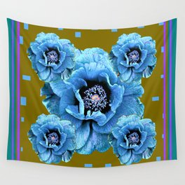 Baby Blue Oriental Poppies Khaki-Violet Abstract Wall Tapestry